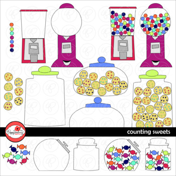 Counting Sweets: Candy Cookie & Gumball Clipart Set by Pop