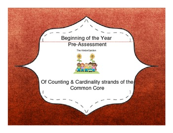 Counting and Cardinality Common Core Pre-Assessment for Be