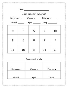 Counting and Numeral Recognition Assessment