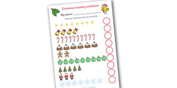Counting at Christmas Worksheets
