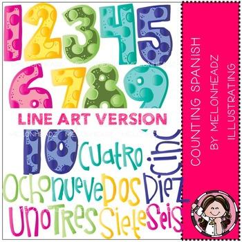 Melonheadz: Counting clip art - Spanish - LINE ART