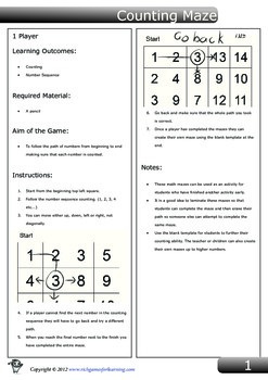 Counting sequence game - Counting Maze