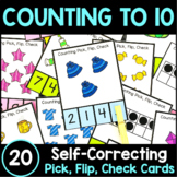 Counting to 10 Pick, Flip Check Cards: Numbers 1-10 Ten Fr