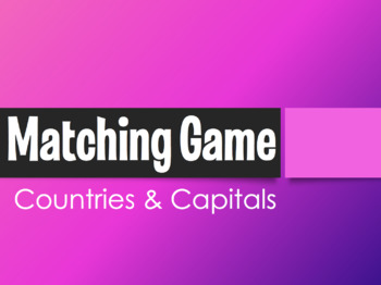 Spanish-Speaking Countries and Capitals Matching Game