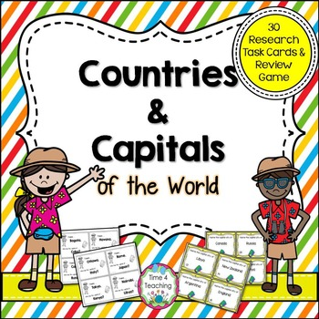 Countries and Capitals of the World Task Cards