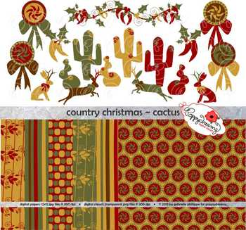 Country Christmas Cactus Clipart and Digital Paper Set by