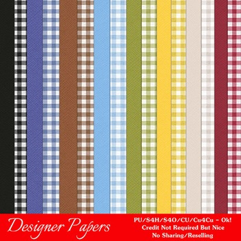Country Gingham Pattern & Cardstock Digital Papers