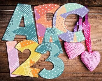 5 Country Quilt Alphabets • Caps Lower Case • Vector PDF •