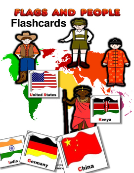 Country flag and people flashcard and letter practice