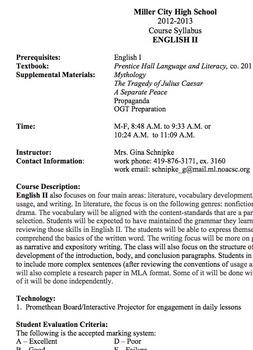 Course Syllabus for English 10
