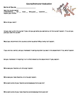 Course/Instructor Evaluation Form