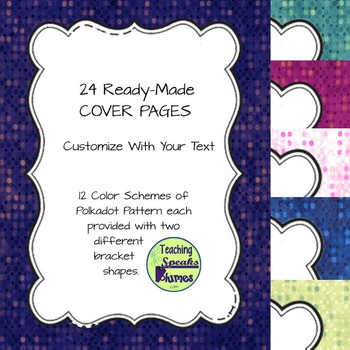 24 Ready-Made Cover Pages: Use for your TpT Products - Del
