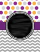Cover Pages for Lesson Plan Binder in purple, gray & gold