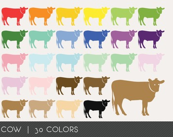 Cow Digital Clipart, Cow Graphics, Cow PNG, Rainbow Cow Di
