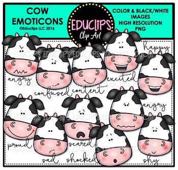 Cow Emoticons Clip Art Bundle