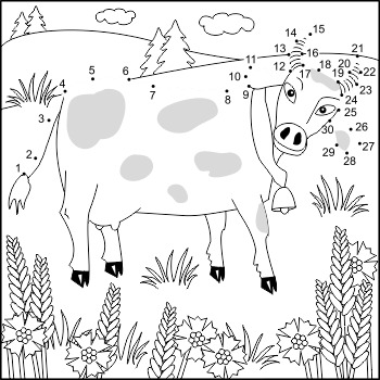 Cow and Cornflowers Connect the Dots and Coloring Page, Co