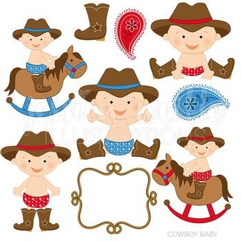 Cowboy Baby Cute Digital Clipart, Cowboy Graphics