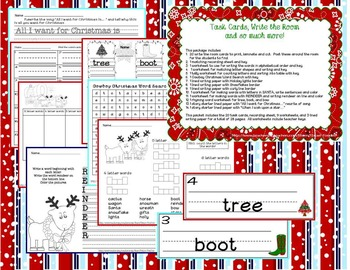 Cowboy Christmas Write the Room * Task Cards * Worksheets
