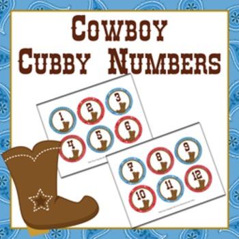 Cowboy Cubby Number Labels 1-30