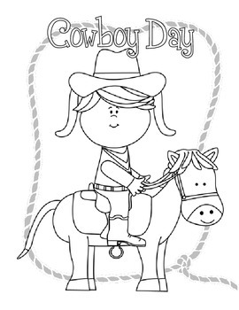 Cowboy Day Coloring Pages