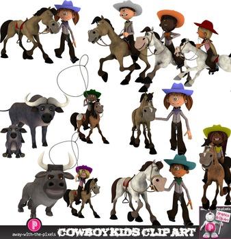 Cowboy Kids Clip Art - Multicultural Western Kids Riding,