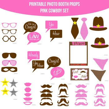 Cowboy Pink Printable Photo Booth Prop Set