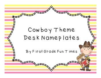 Cowboy Theme Desk Nameplates