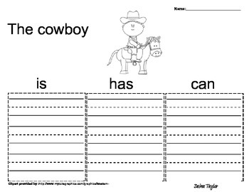 Cowboy Themed Graphic Organizers