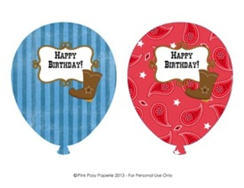 Cowboy Western Birthday Balloons (4 different designs)