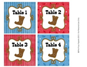 Cowboy Western Classroom Decor Table Numbers