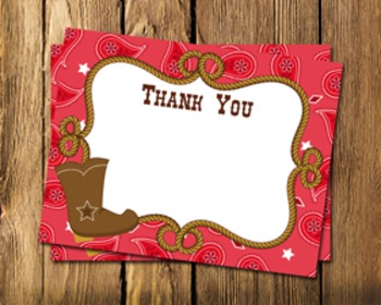 Cowboy Western Flat Thank You Note Cards