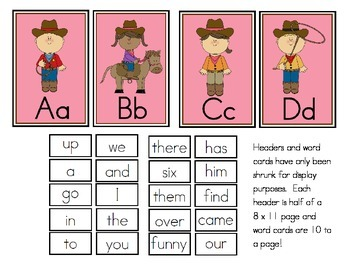 Cowboy Western Theme Word Wall Headers and Sight Words