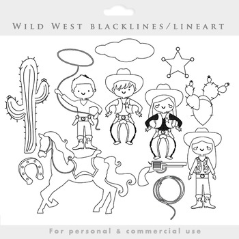 Cowboy clipart blacklines - line art wild west clip art co
