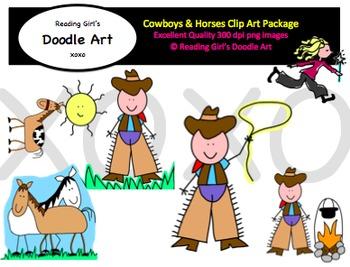 Cowboys & Horses Clipart