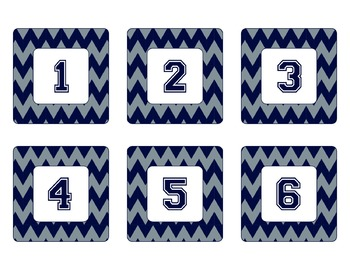 Cowboys Inspired Blue and Silver Chevron Calendar Pieces-Editable