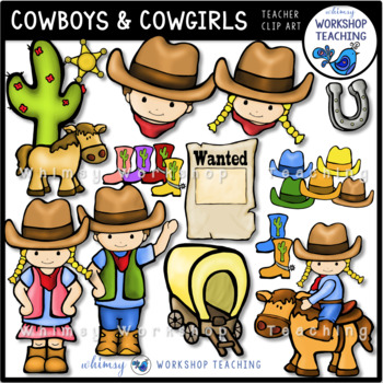 Cowboys and Cowgirl Clip Art (Whimsy Workshop Teaching)