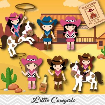 Cowgirls Digital Clip Art, Wild West Digital Cowgirls Clip