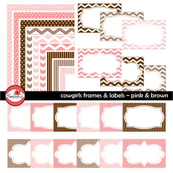 Cowgirls Pink & Brown Frames and Labels Digital Borders Cl