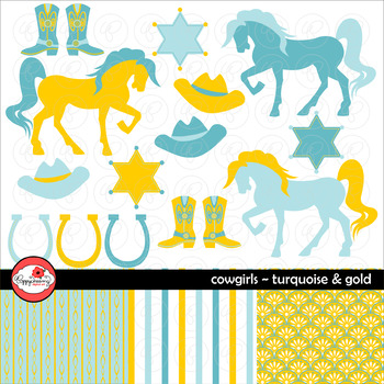 Cowgirls: Turquoise and Gold Digital Paper and Clipart Set