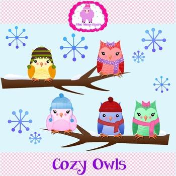 Cozy Owls Clip Art Set