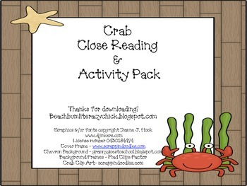 Crab Close Reading Activity Pack