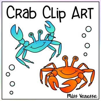 Crab Clip Art ~ Color & Black Line Images Included ~ Ocean