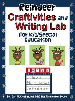 Craftivity:  Reindeer Craftivity and Writing Labs for K/1/
