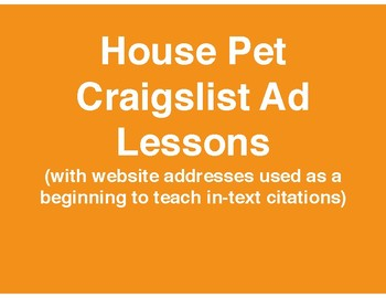 Craigslist Ad (Project-Based Standards-Based Lessons)