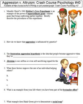 Crash Course Psychology #40 (Aggression v. Altruism) worksheet