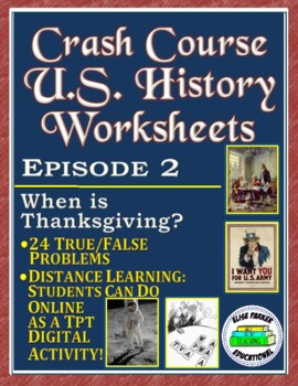 Crash Course Thanksgiving Worksheet -- True/False Thanksgi