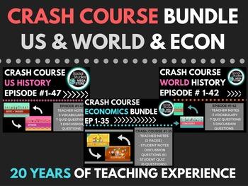 Crash Course World History Ep. 1-42, US History Ep. 1-47,