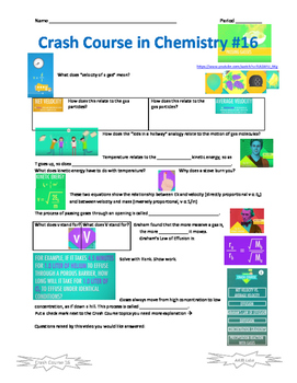 Crash Course in Chemistry 16 Effusion, Diffusion, Velocity