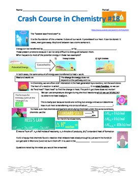 Crash Course in Chemistry 18 Enthalpy