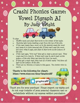 Crash! Phonics Game for Vowel Digraph AI